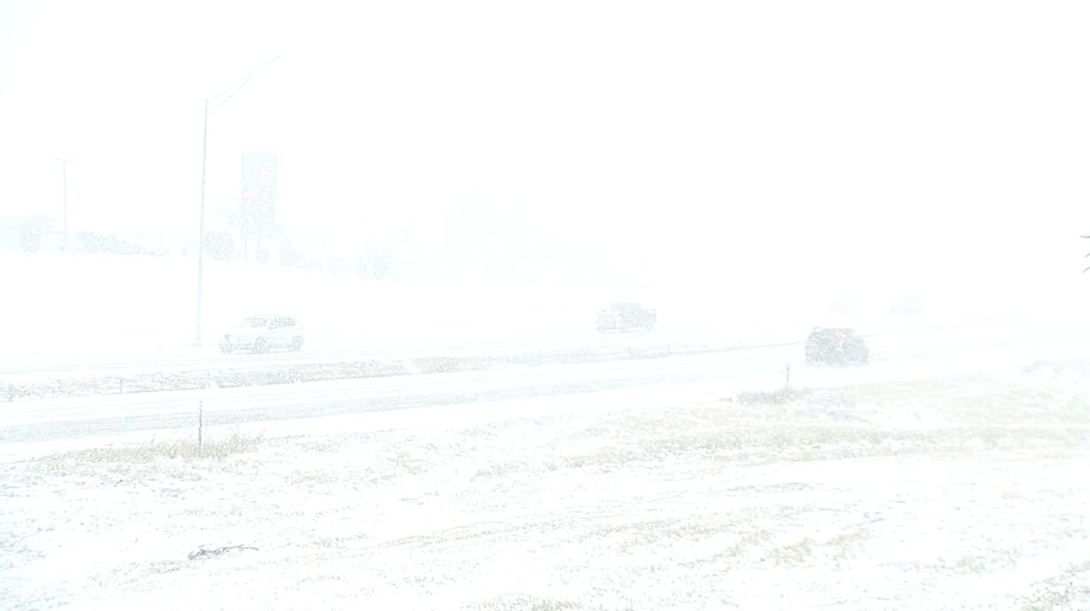 Snow covered roads in Columbia on Sunday afternoon