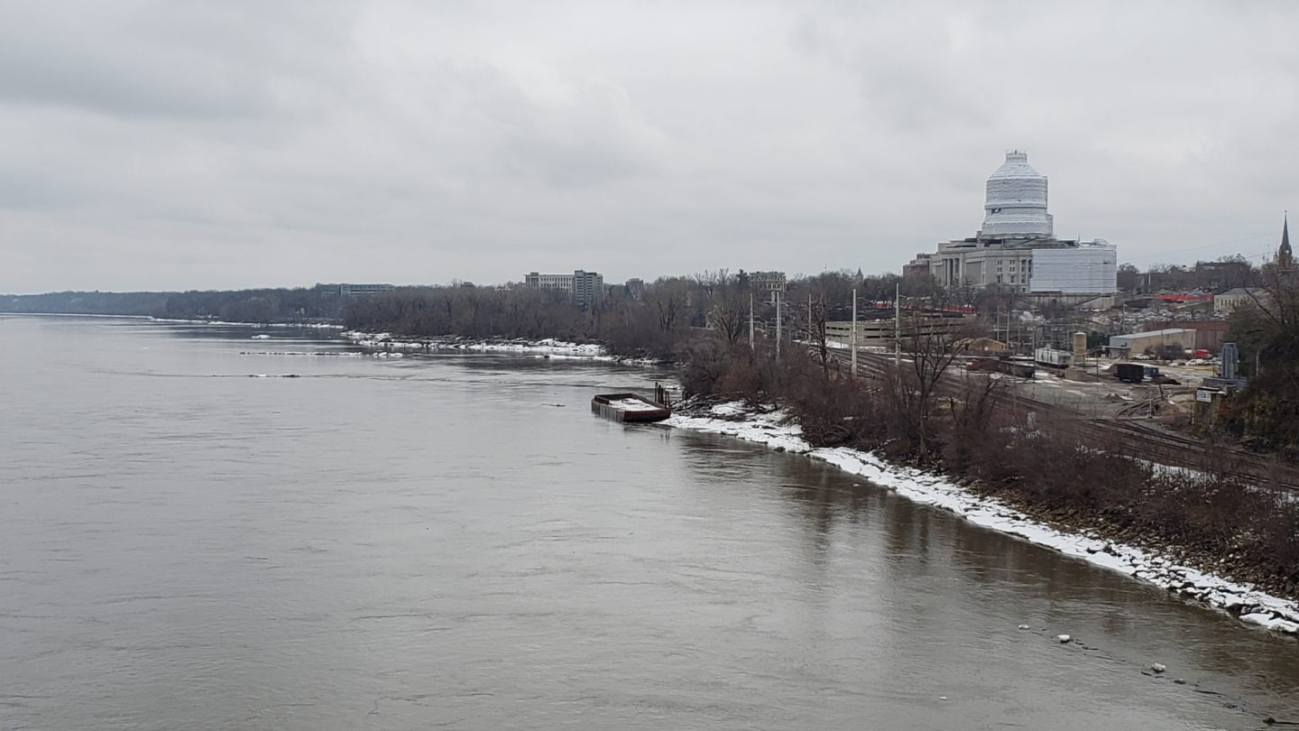 A view of the west bank of the Missouri River in Jefferson City, Mo. on Jan 31, 2020.