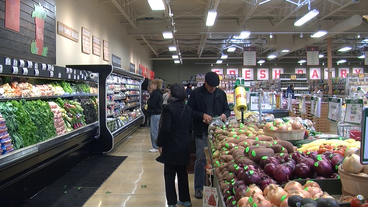 Shoppers browse in Lucky's Market.