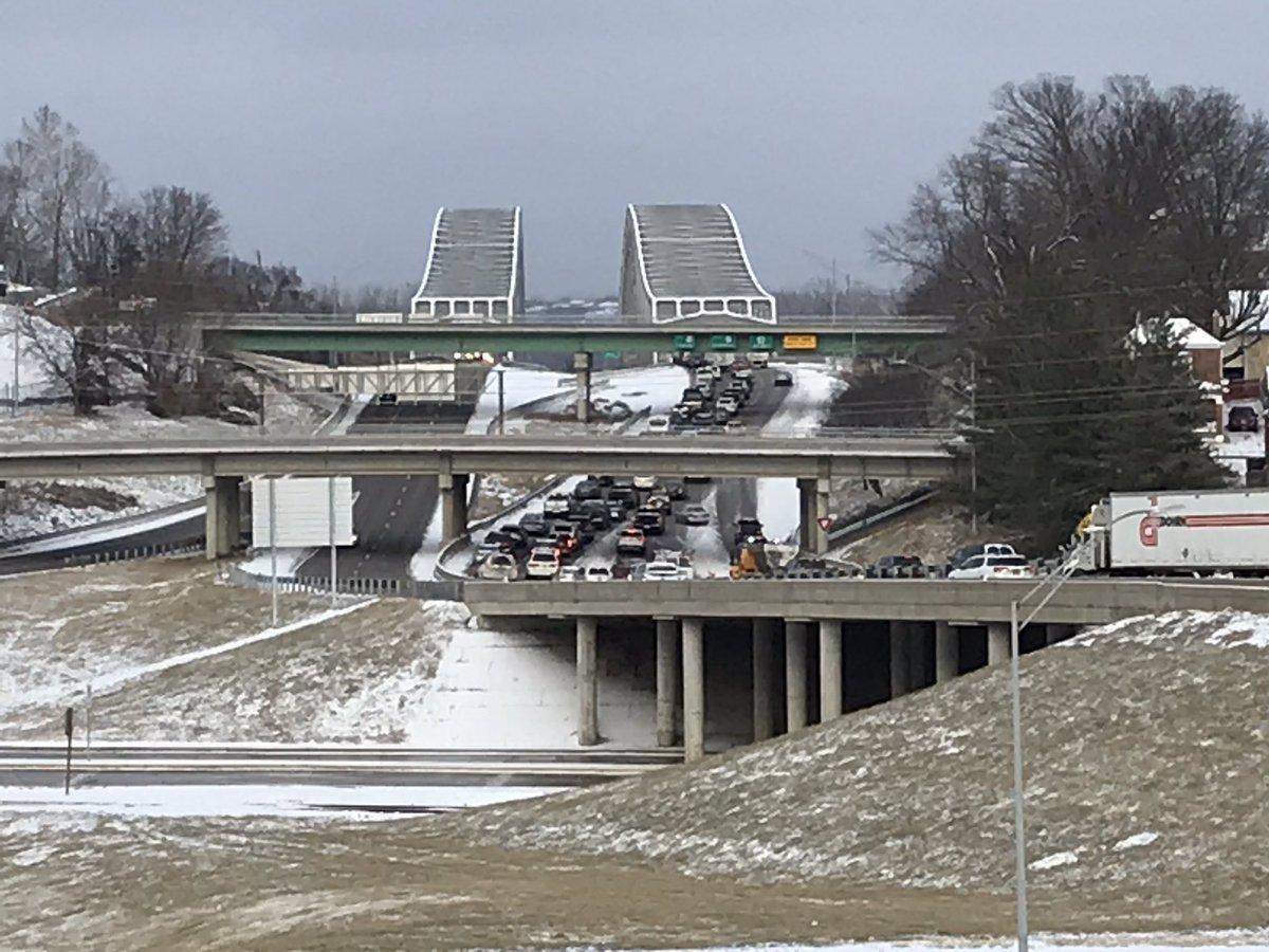 Snow along Highway 54 outside Jefferson City on Monday, Jan. 20, 2020.