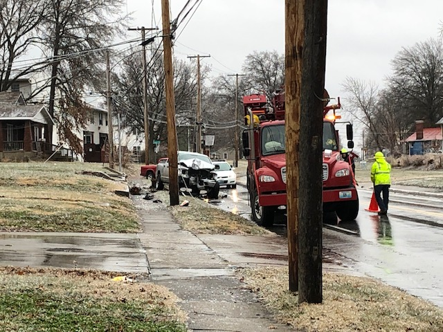 Vehicle crashes into power pole