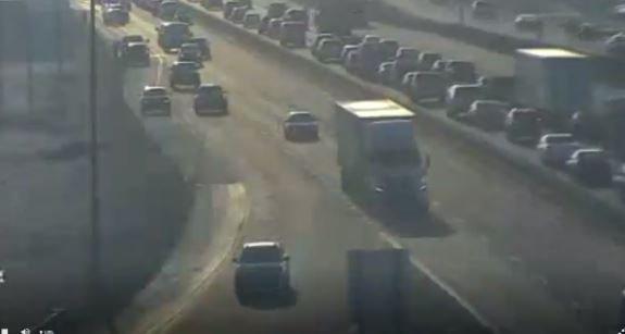 A crash causes backups on I-70 on Wednesday, Feb. 19, 2020.