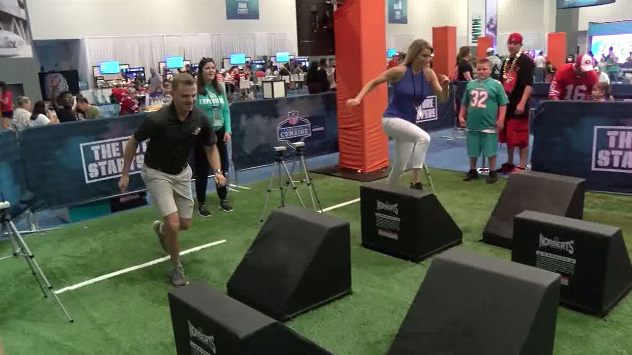 Sports Director Andrew Kauffman and ABC 17's Ashley Strohmier go head-to-head in an obstacle course.
