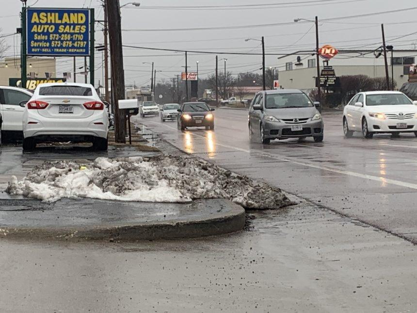 Rain and melting snow on Biz Loop