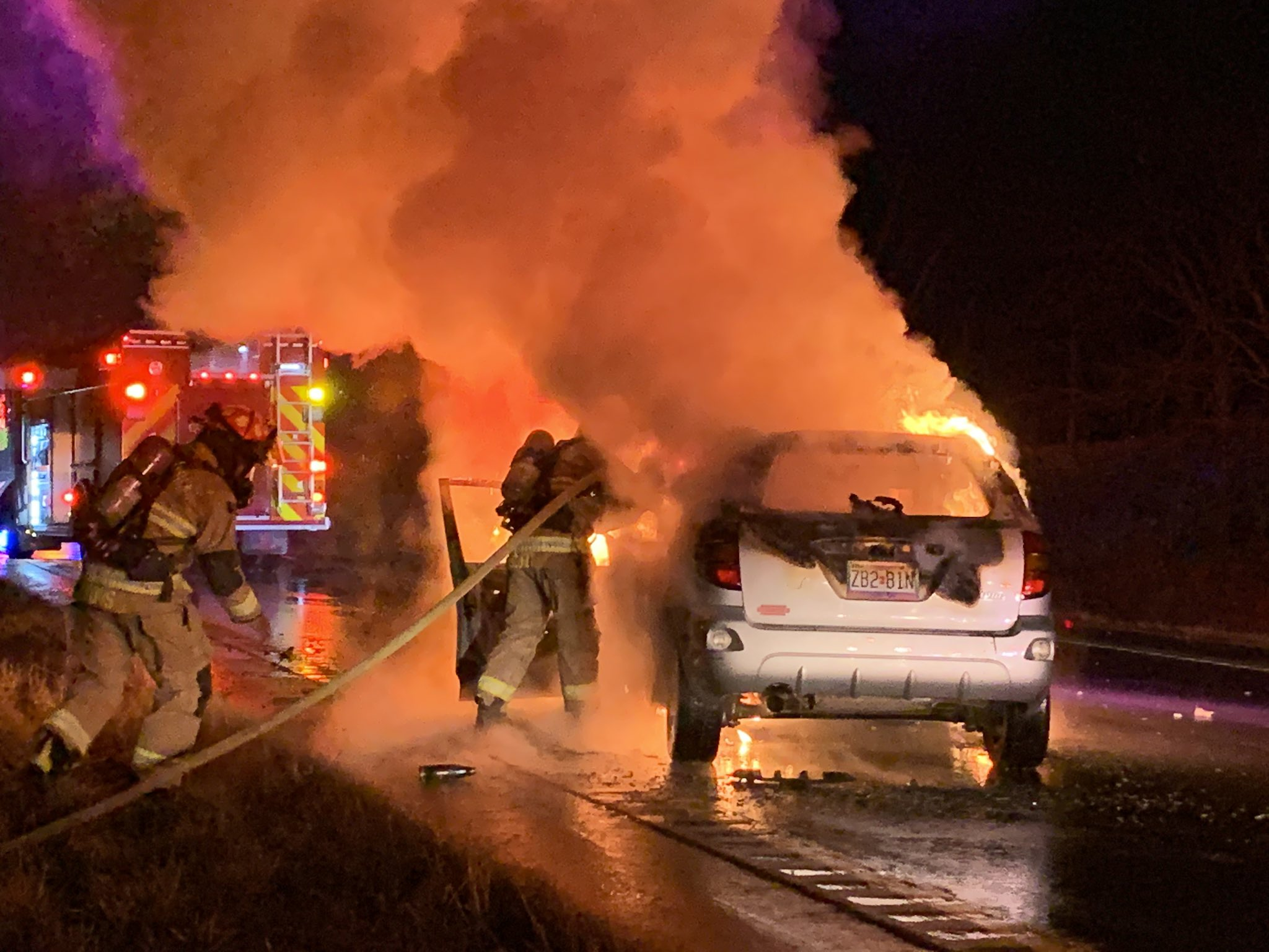 A vehicle catches fire on Highway 63 on Monday, Feb. 24, 2020.