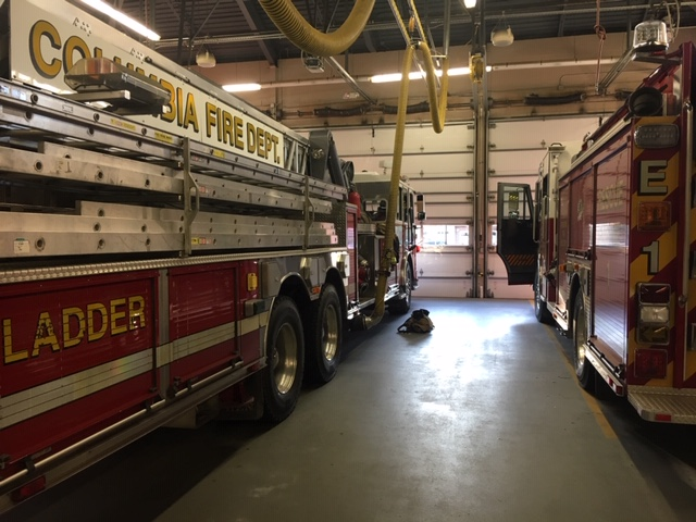 Columbia fire trucks inside a CFD station. File photo.