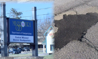 MoDOT Central District sign and a filled pothole.
