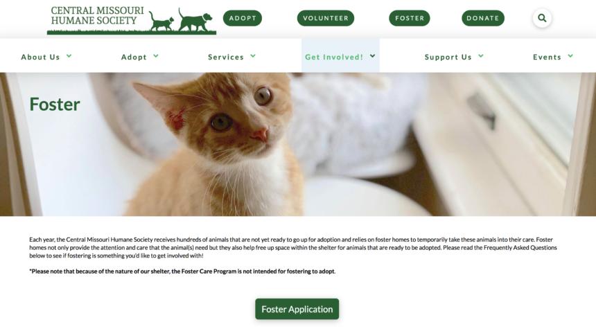 Central Missouri Humane Society's website