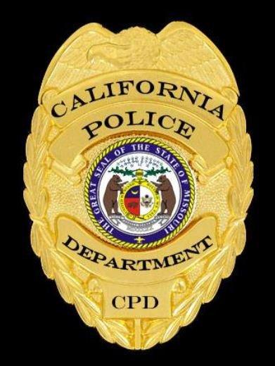 California Police Department badge.