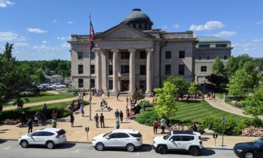 Protesters gather outside Boone County Courthouse