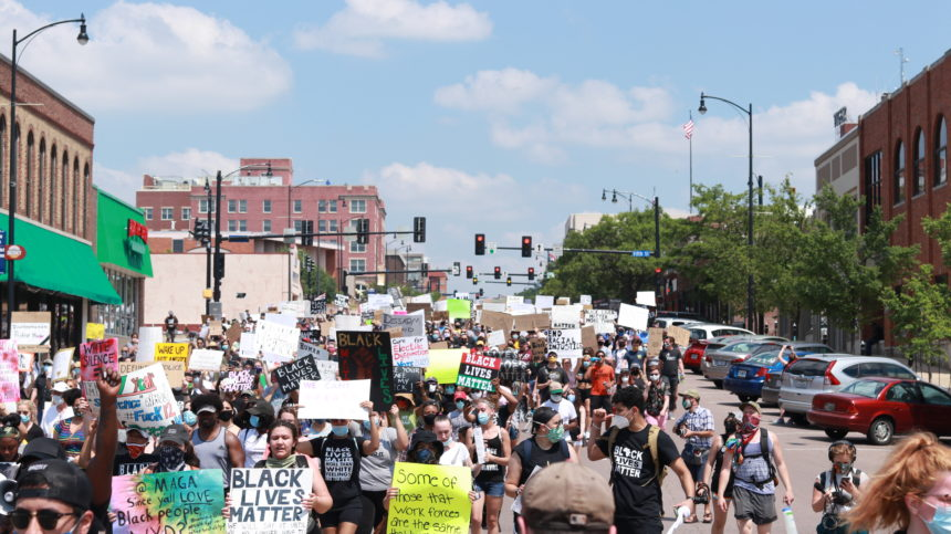 Protesters march downtown Columbia
