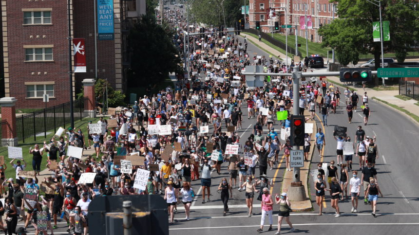 Protesters on College Avenue