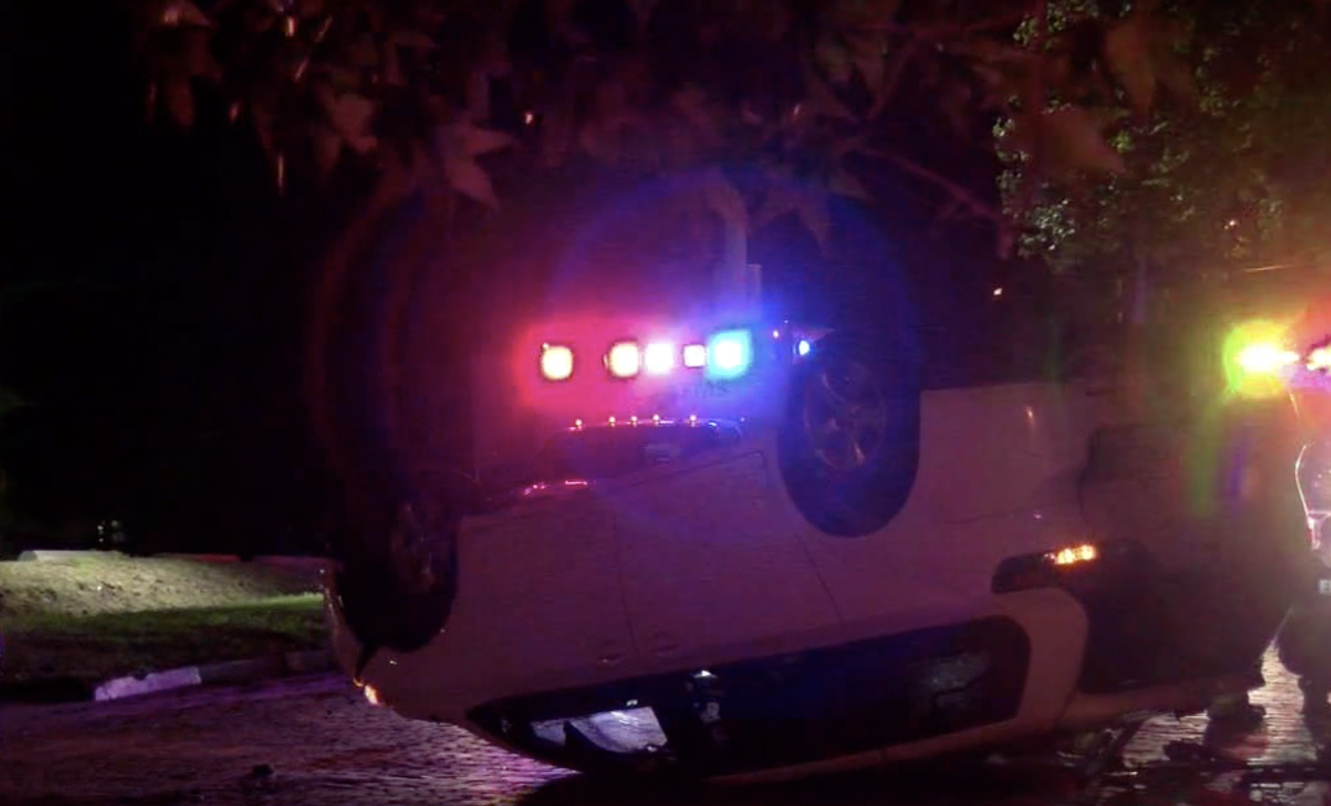 A car flips onto its roof in a suspected DWI crash in Columbia.
