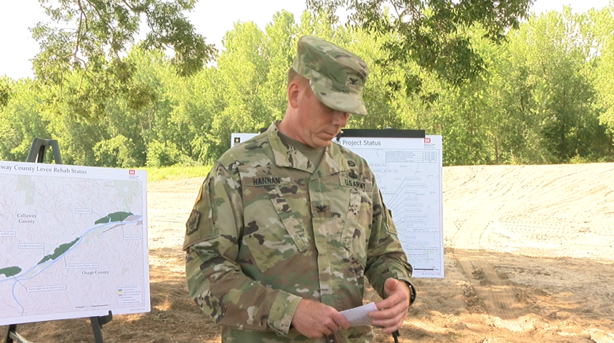Col. William Hannan speaking at a media availability in Jefferson City, Mo.