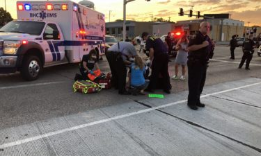 Protester hit by vehicle