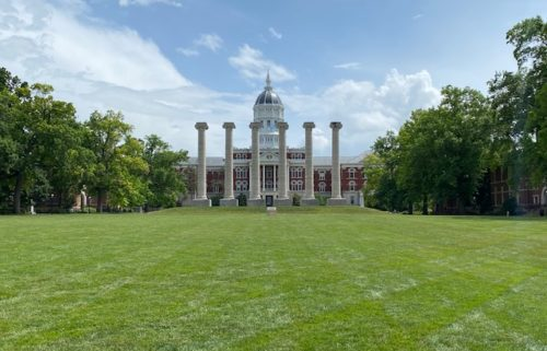 The columns on the Francis Quadrangle at the University of Missouri.
