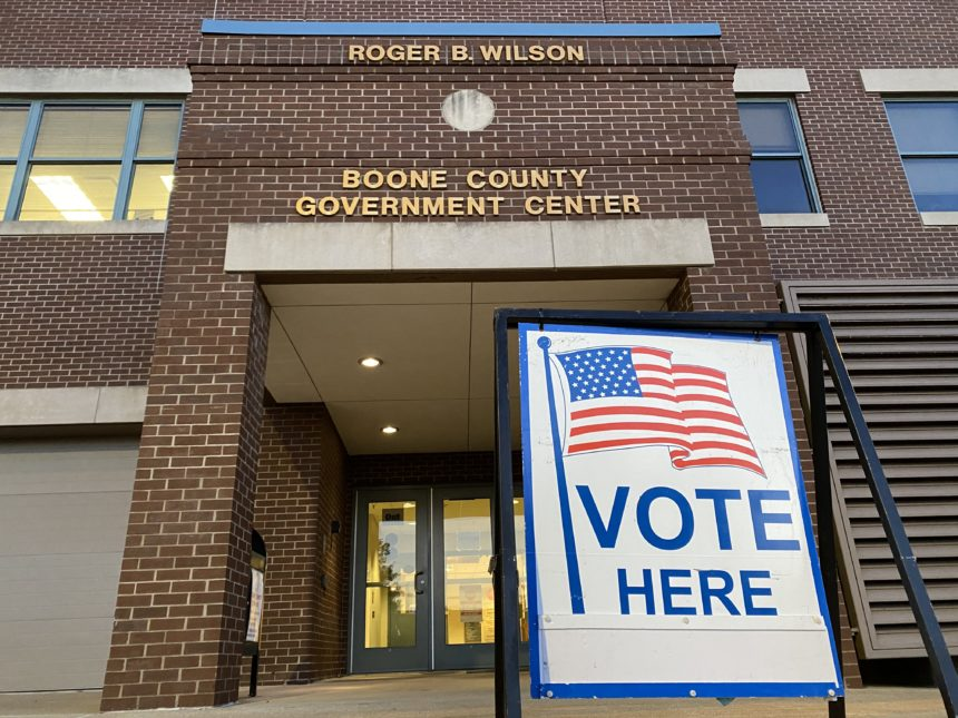 A voting sign sits outside of the Boone County Government Center in Columbia on election day.