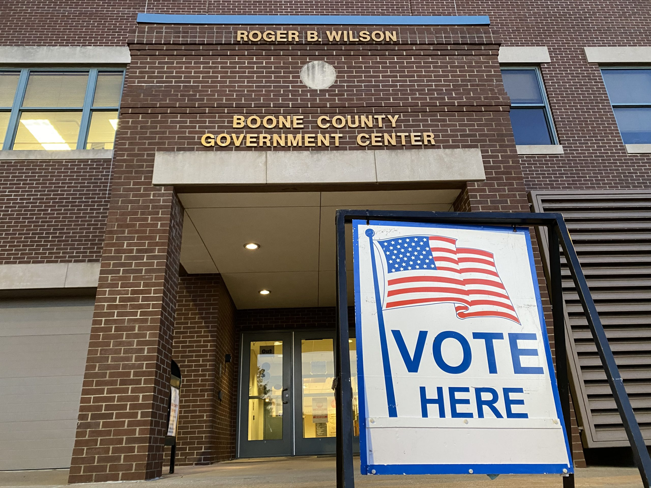 A voting sign sits outside of the Boone County Government Center in Columbia on Aug. 4, 2020