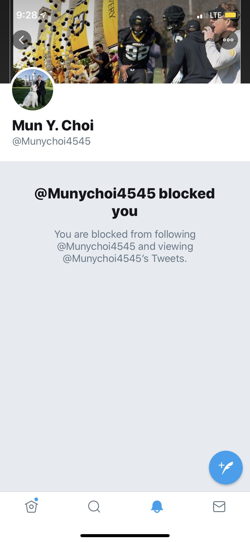 A picture shared by Cannon Summers on Twitter shows MU Chancellor Mun Choi blocked him. A lawyer is threatening to sue Choi over his blocking several people.