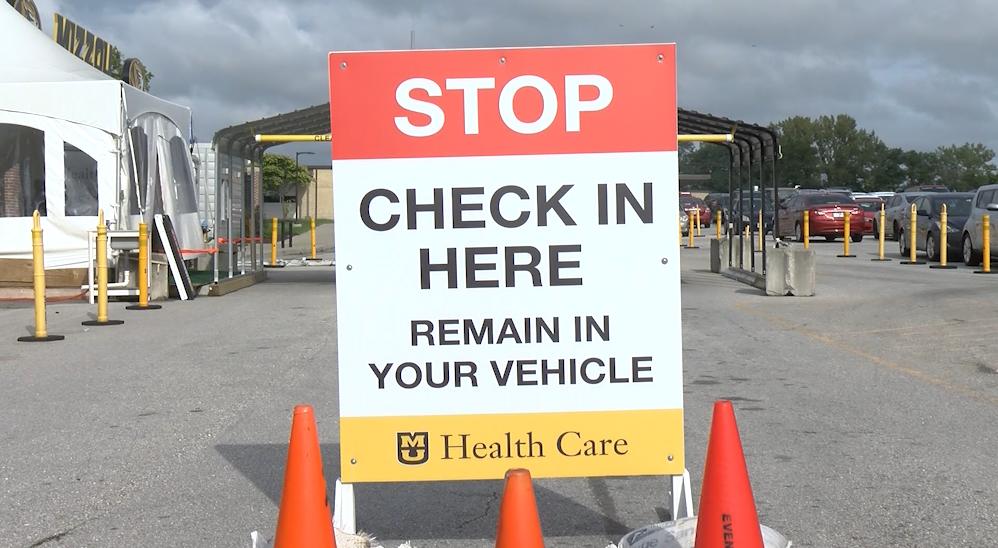 Hearnes Center drive-thru testing site