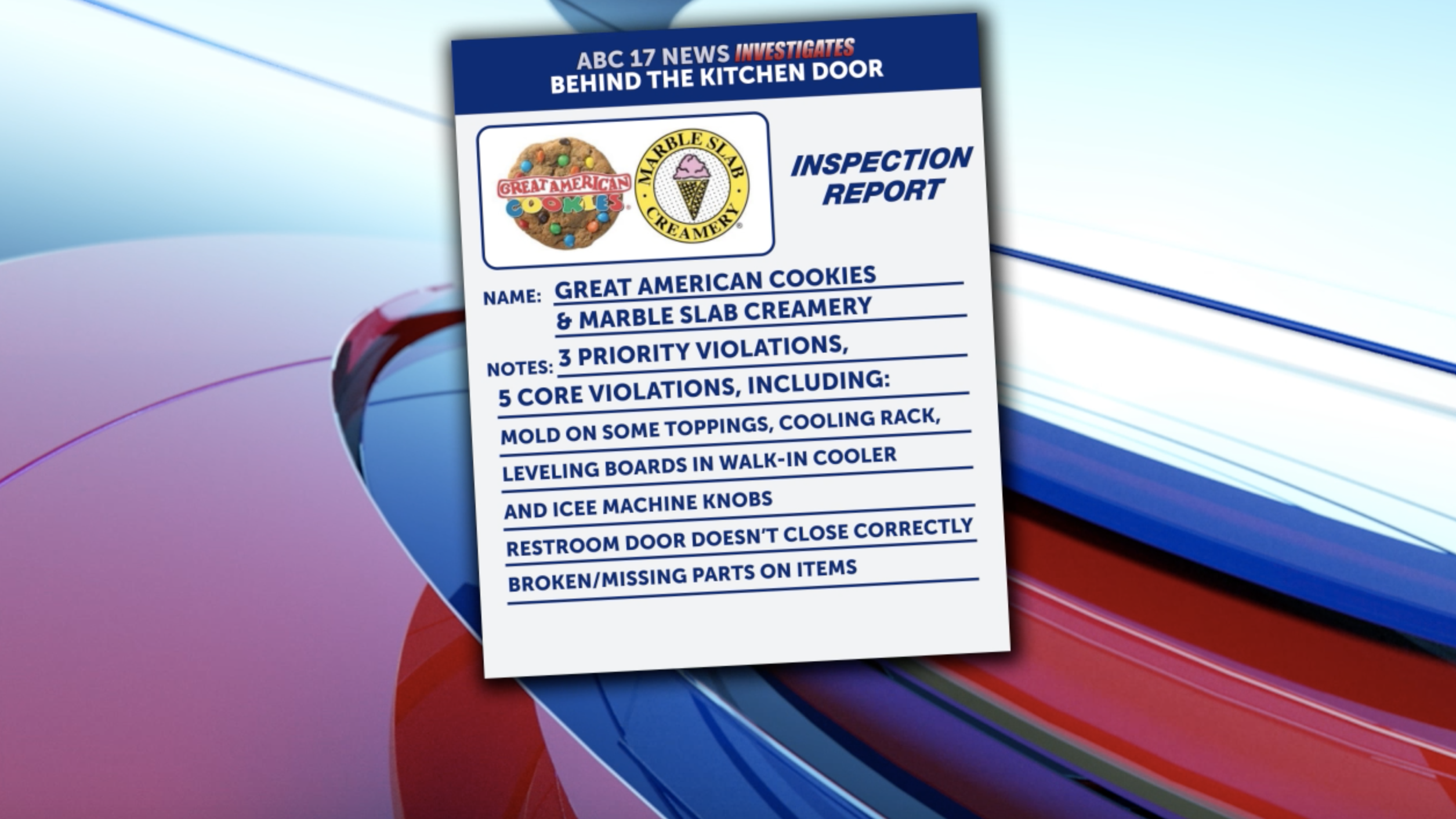 Great American Cookies in Jefferson City inspection results from August.