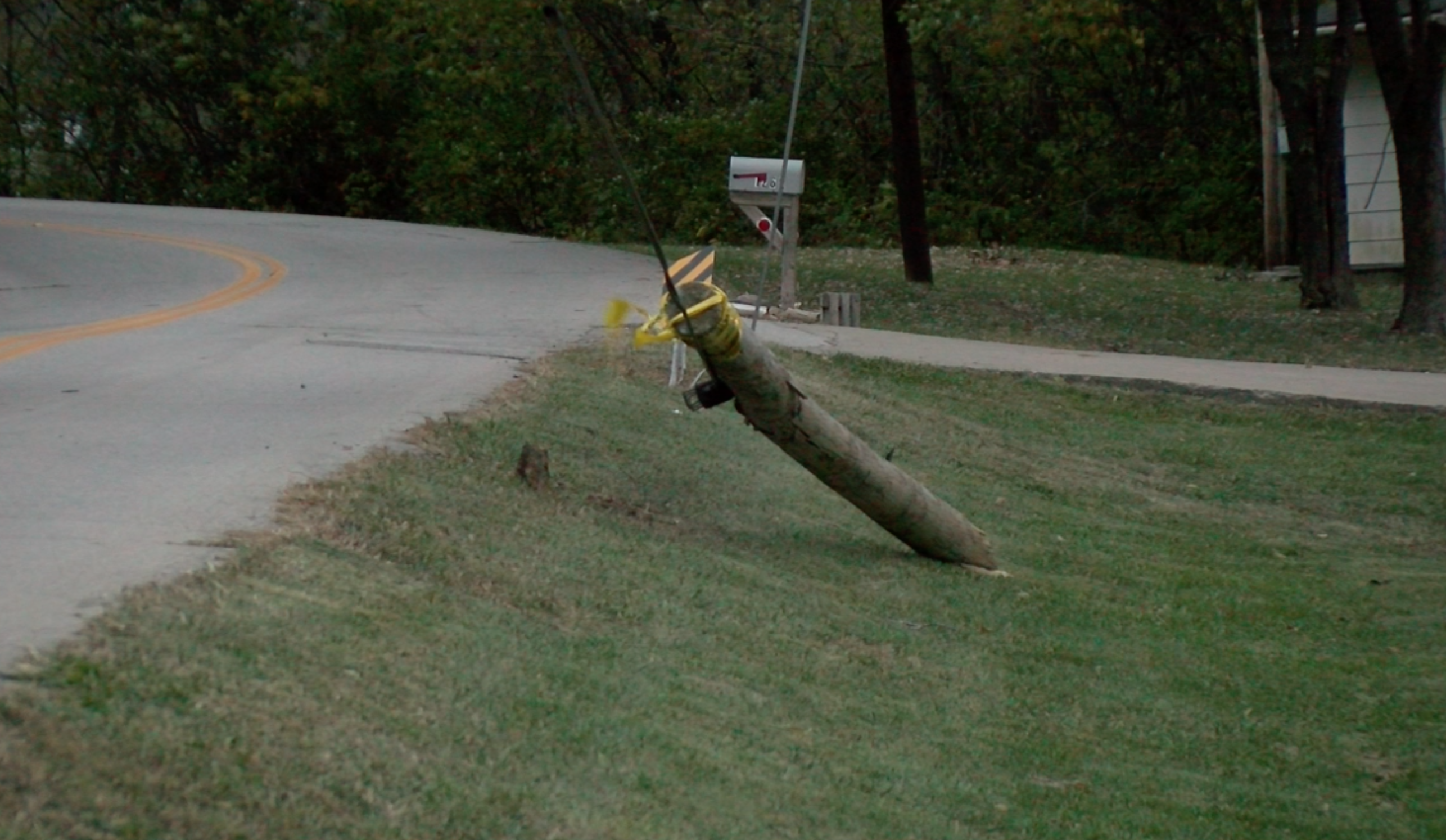 A downed power line on West Old Plank Road.
