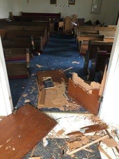 Damage at Mount Vernon Missionary Baptist Church