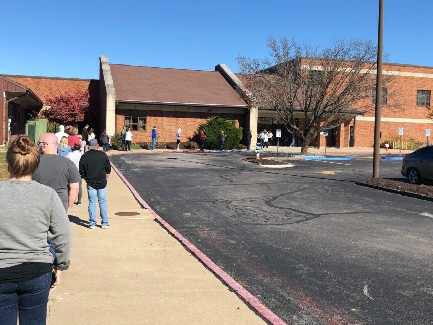 Polling line outside Mill Creek Elementary
