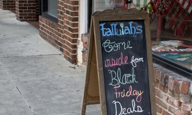 Black Friday sign outside Tallulahs in Columbia