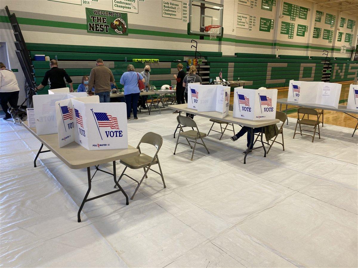 Voters cast ballots inside Blair Oaks High School in Wardsville on Tuesday, Nov. 3, 2020.