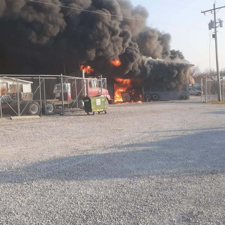 Flames and smoke at Pierson's Trucking