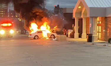 Car fire in downtown Columbia
