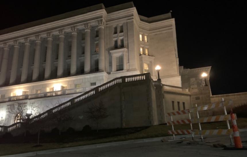 Barriers block Capitol Avenue in Jefferson City
