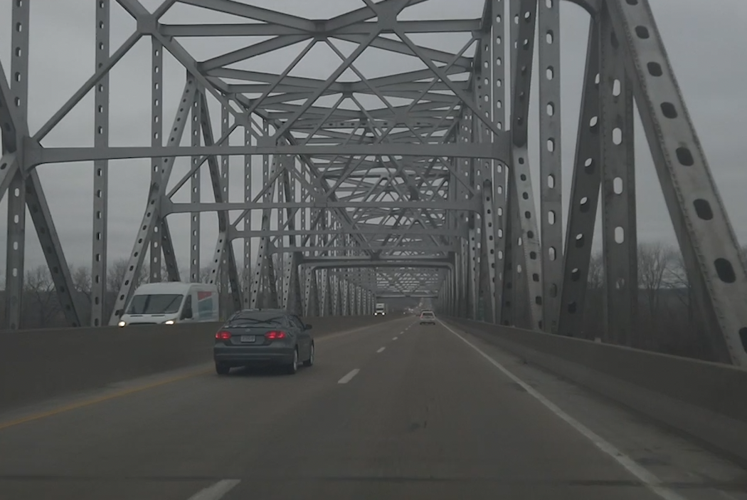 Vehicles drive over the Missouri River Bridge in Rocheport in January 2021.