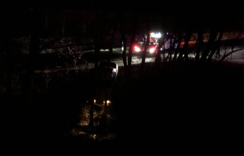 Suspect on the run after crashing car into ravine