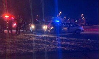 A crash leaves an MU Police cruiser damaged near Stadium Blvd. and Providence Rd.
