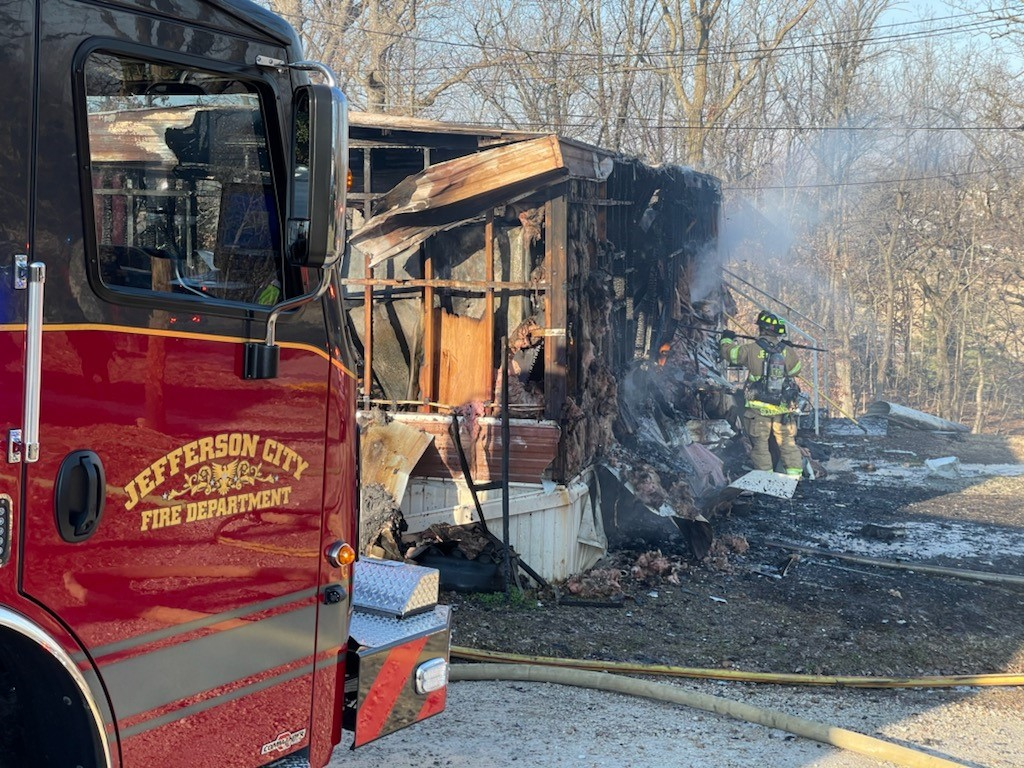 The Jefferson City Fire Department responds to a fire on East Miller Street
