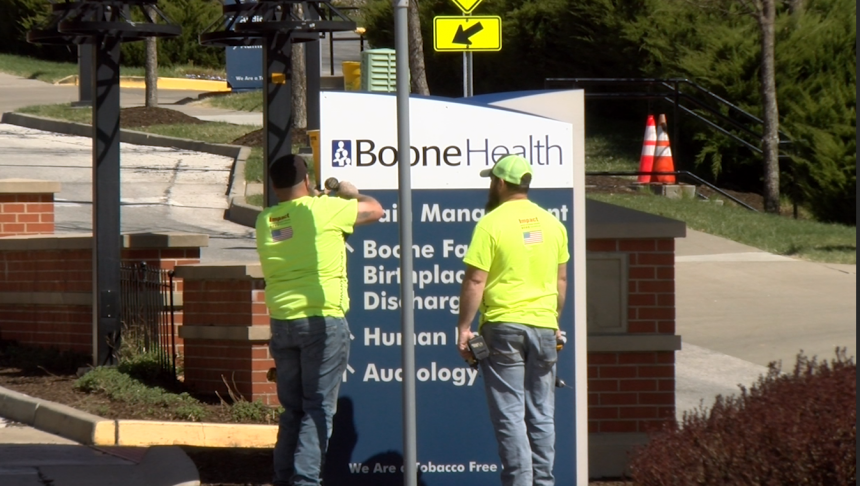 Signs changing from Boone Hospital Center to Boone Health
