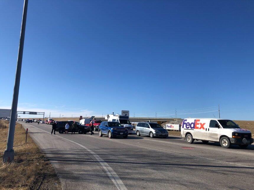 Traffic after crash at I-70/Highway 63 connector