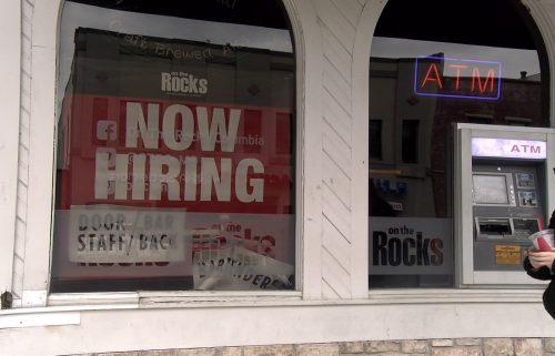 Now Hiring Sign On The Rocks Bar Downtown Columbia, MO