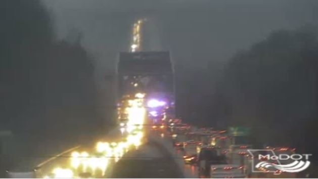 Westbound I-70 shuts down near Missouri River Bridge.