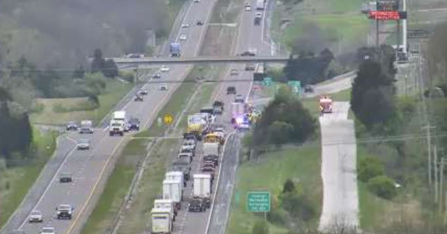 Crash on I-70 West near the Midway exit closes a lane of traffic Friday morning, April 16, 2021.
