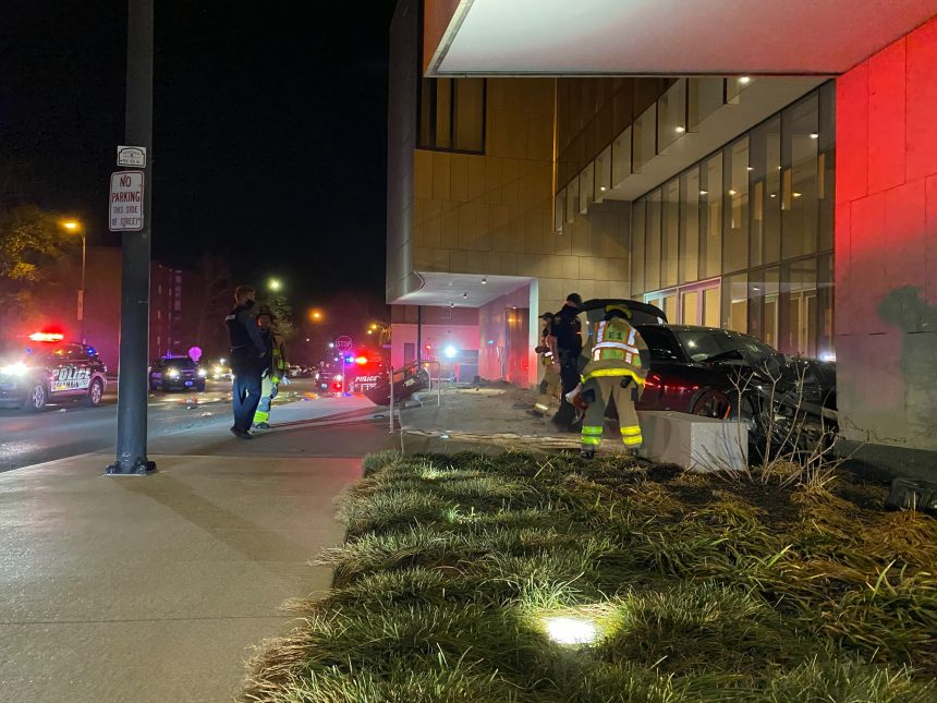 Pursuit suspect crashes into The State Historical Society of Missouri building.