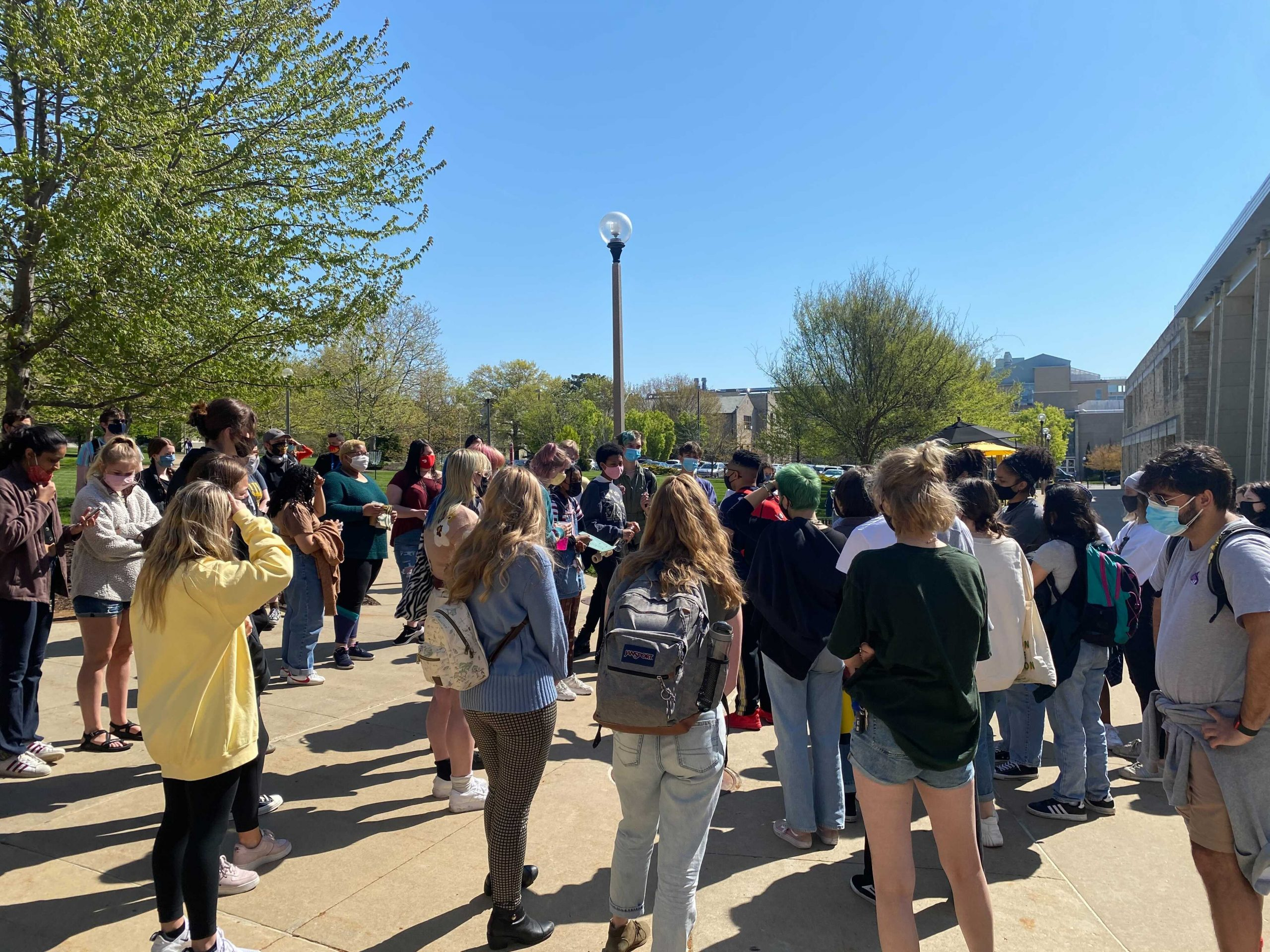 University of Missouri students gather for a protest against changes to campus social justice centers on Monday, April 19, 2021.