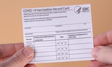 A coronavirus vaccination card