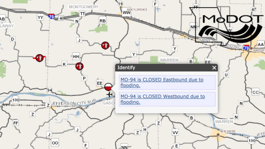 MoDOT traveler map shows Route 94 in Montgomery County closed due to flooding.