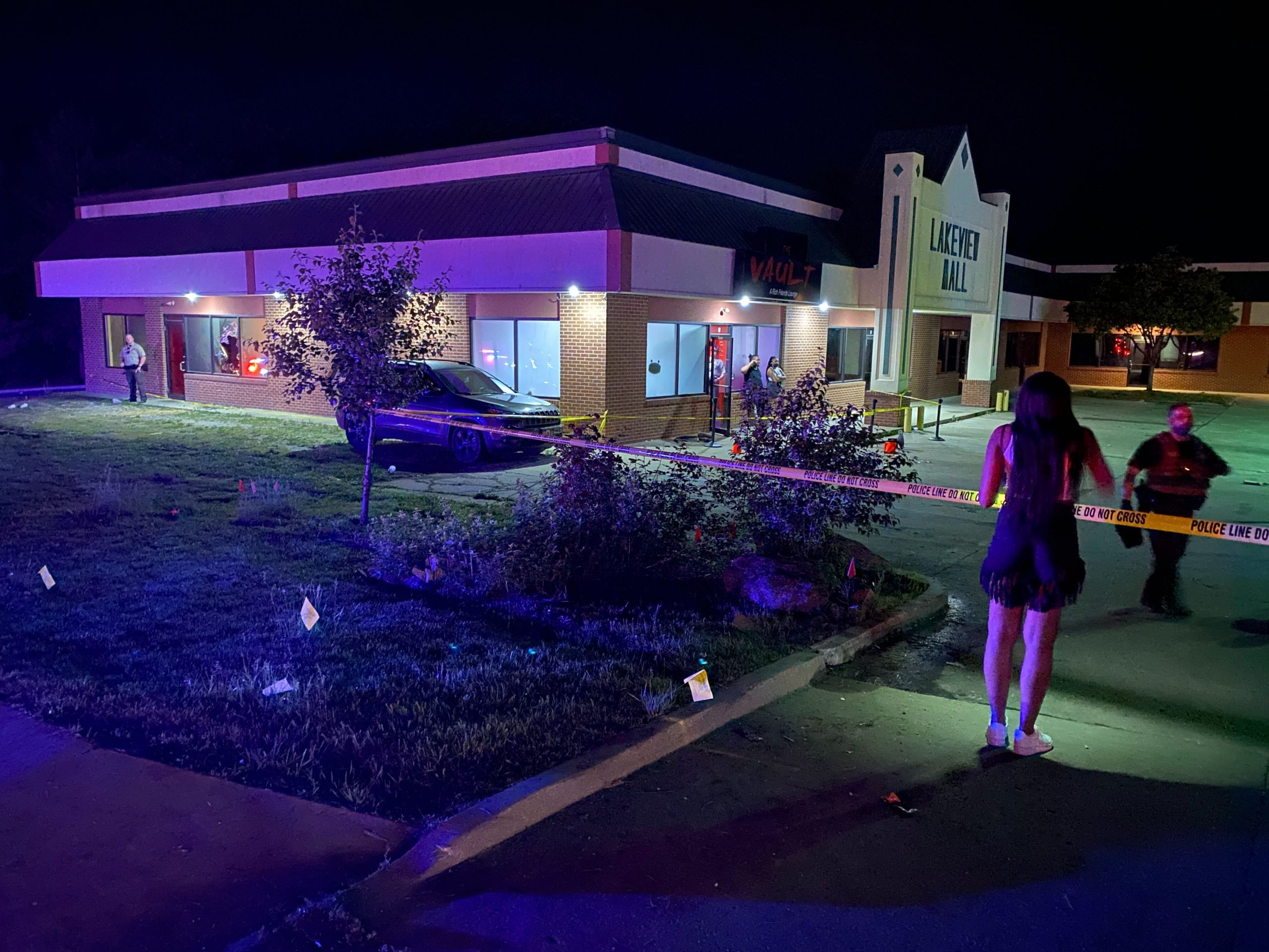 Authorities investigate after a shooting at The Vault nightclub just outside Columbia on May 23, 2021.