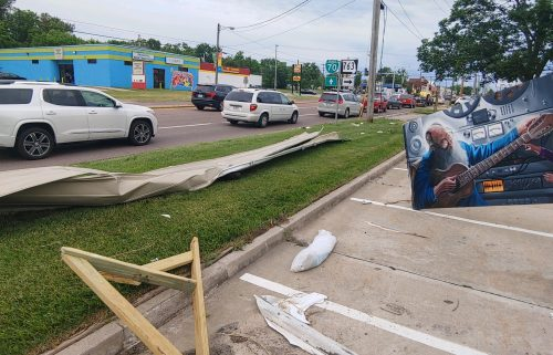 Debris along Business Loop 70 in Columbia on Monday, June 21, 2021.