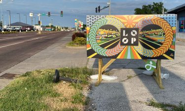 The Business Loop Community Improvement District sign on Business Loop 70 East.
