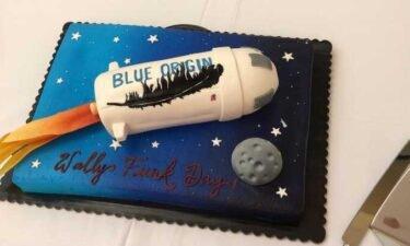 Cake celebrating Wally Funk and Blue Origin